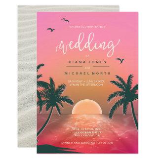 Tropical Isle Sunrise Wedding Pink L2 ID581 Invitation