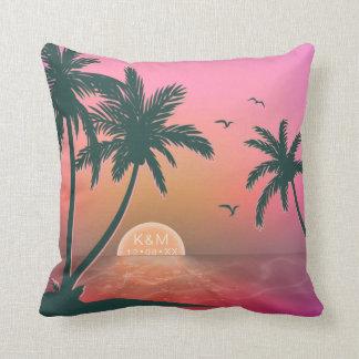 Tropical Isle Sunrise Wedding PinkID581 Throw Pillow