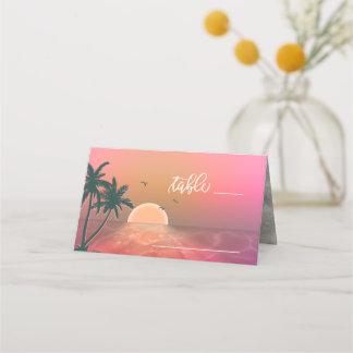 Tropical Isle Sunrise Wedding Table Pink ID581 Place Card