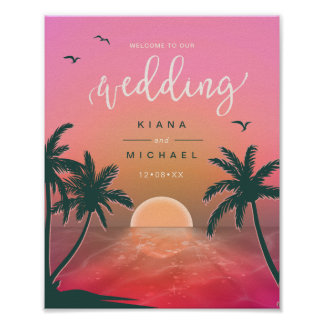 Tropical Isle Sunrise Wedding Welcome Pink  ID581 Poster