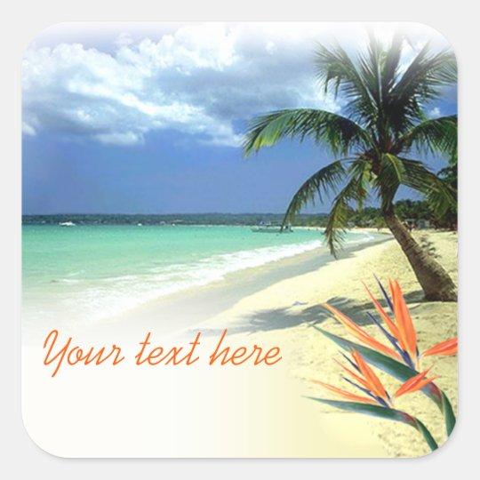 Tropical Jamaican Hawaiian Wedding Square Sticker