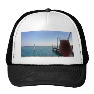 tropical jette and cocktail trucker hat