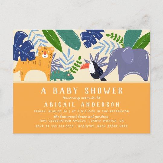 Tropical Jungle Animals Gender Neutral Baby Shower Invitation ...