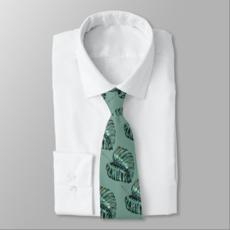 Tropical Jungle Leaves Pattern Sage Green Tie
