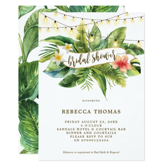 Tropical jungle lights bridal shower invitation