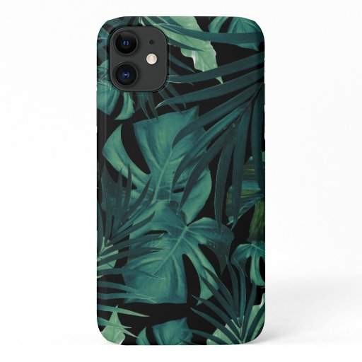 Tropical Jungle Night Leaves Pattern #1 #tropical iPhone 11 Case