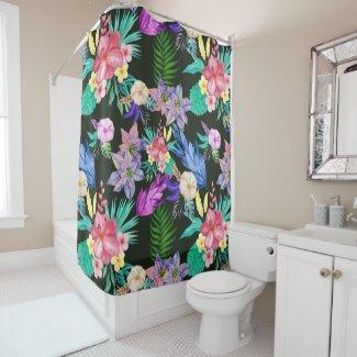 Tropical Jungle Plants Shower Curtain