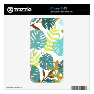 Tropical jungle with palm leaves decals for iPhone 4