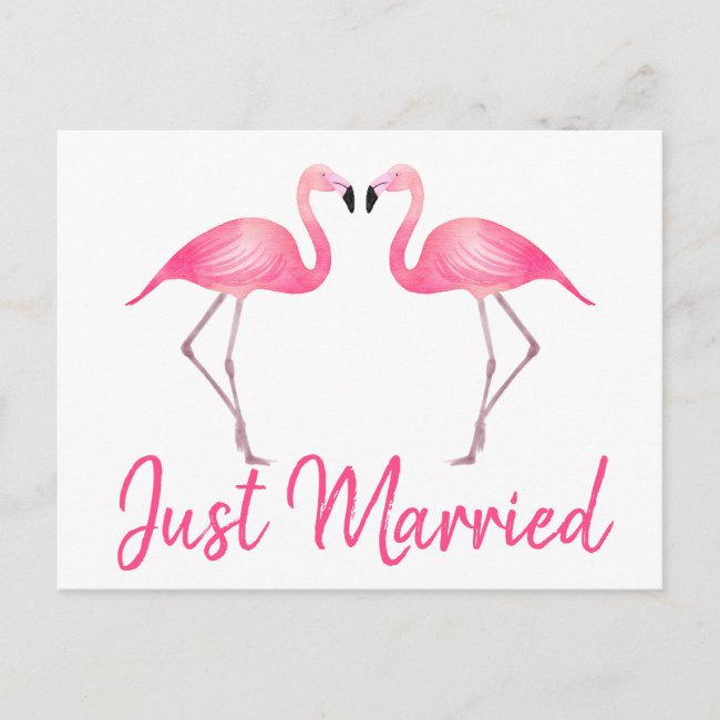 Tropical Just Married Pink Flamingo Beach Wedding Announcement Postcard