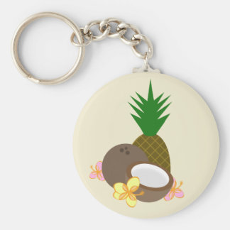 Tropical Keychain - Pineapple Coconut Hibiscus