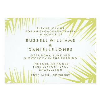 Tropical Khaki Green Palm Leaf Engagement Invite