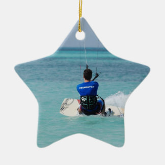 Tropical Kitesurfing Double-Sided Star Ceramic Christmas Ornament