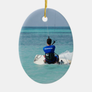 Tropical Kitesurfing Double-Sided Oval Ceramic Christmas Ornament
