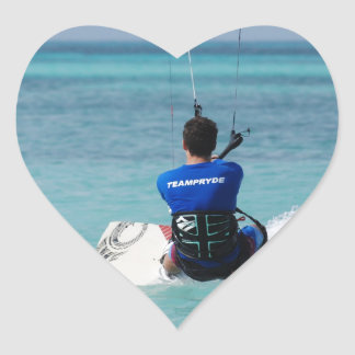 Tropical Kitesurfing Heart Stickers