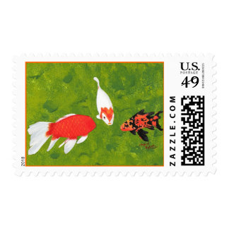 Tropical koi fish painting meeting, postage stamps