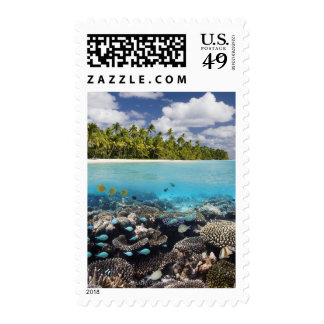 Tropical Lagoon in South Ari Atoll in the Postage Stamps