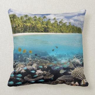 Tropical Lagoon in South Ari Atoll Throw Pillows