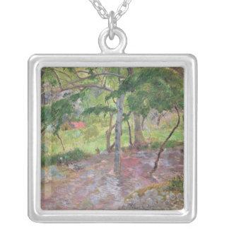 Tropical Landscape, Martinique, 1887 Silver Plated Necklace