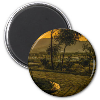 Tropical Landscape Sunset Scene Magnet