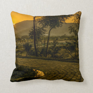 Tropical Landscape Sunset Scene Throw Pillow