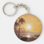 Tropical Landscape With Fishing Boats by Bierstadt Basic Round Button Keychain