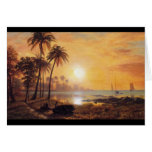 Tropical Landscape With Fishing Boats by Bierstadt Greeting Card