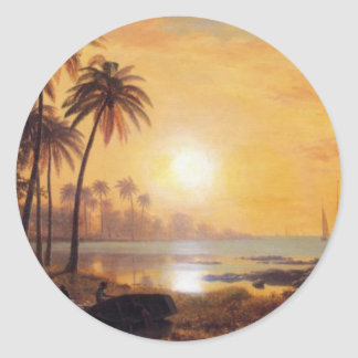 Tropical Landscape With Fishing Boats by Bierstadt Classic Round Sticker