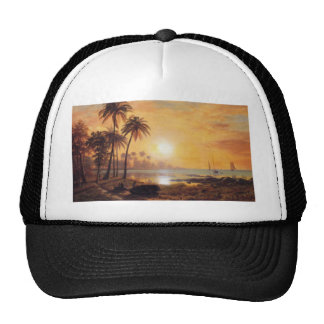 Tropical Landscape With Fishing Boats by Bierstadt Mesh Hat