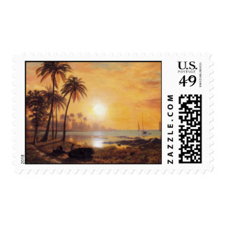Tropical Landscape With Fishing Boats by Bierstadt Stamps