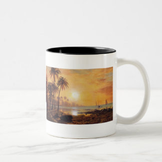 Tropical Landscape With Fishing Boats by Bierstadt Two-Tone Coffee Mug