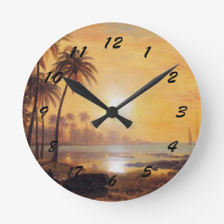 Tropical Landscape with Fishing Boats in Bay Round Clocks