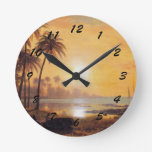 Tropical Landscape with Fishing Boats in Bay Round Wall Clocks