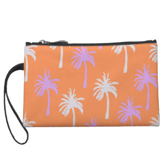 Tropical Lavender and Gray Palm Trees on Orange Wristlet Wallet