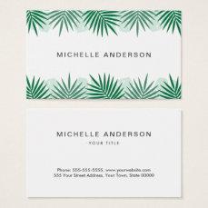 Tropical leaf border business cards