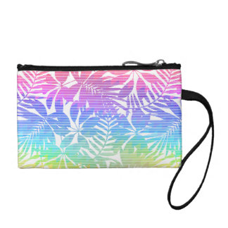 Tropical leaf chevron change purse