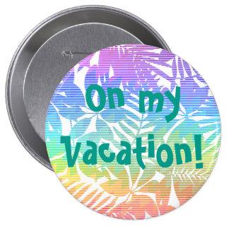 Tropical leaf chevron pinback button