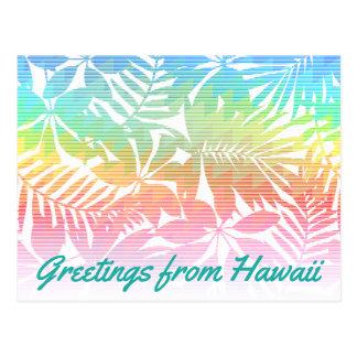 Tropical leaf chevron postcard