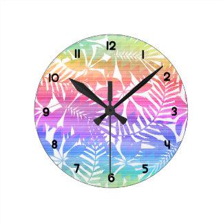 Tropical leaf chevron round clock