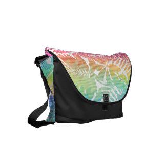 Tropical leaf chevron small messenger bag