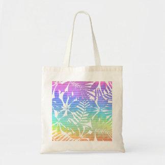 Tropical leaf chevron tote bag