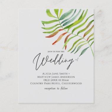 Tropical Leaf Destination Beach Wedding Invitation