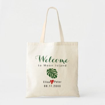 Beach Themed Tropical leaf destination wedding welcome script tote bag