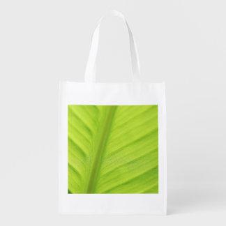 Tropical leaf grocery bag