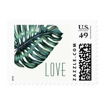 Beach Themed Tropical Leaf Monstera Destination LOVE Stamp