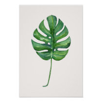 Tropical Leaf (Monstera) Watercolor Poster