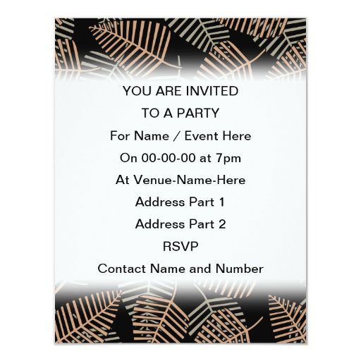 Tropical Leaf Pattern in Brown, Gray and Black. 4.25x5.5 Paper Invitation Card