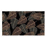 Tropical Leaf Pattern in Brown, Gray and Black. Business Card Templates