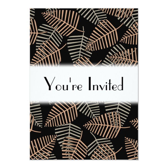 Tropical Leaf Pattern in Brown, Gray and Black. Card