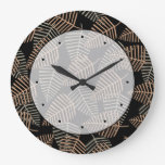 Tropical Leaf Pattern in Brown, Gray and Black. Round Wallclock