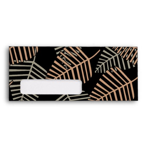 Tropical Leaf Pattern in Brown, Gray and Black. Envelopes